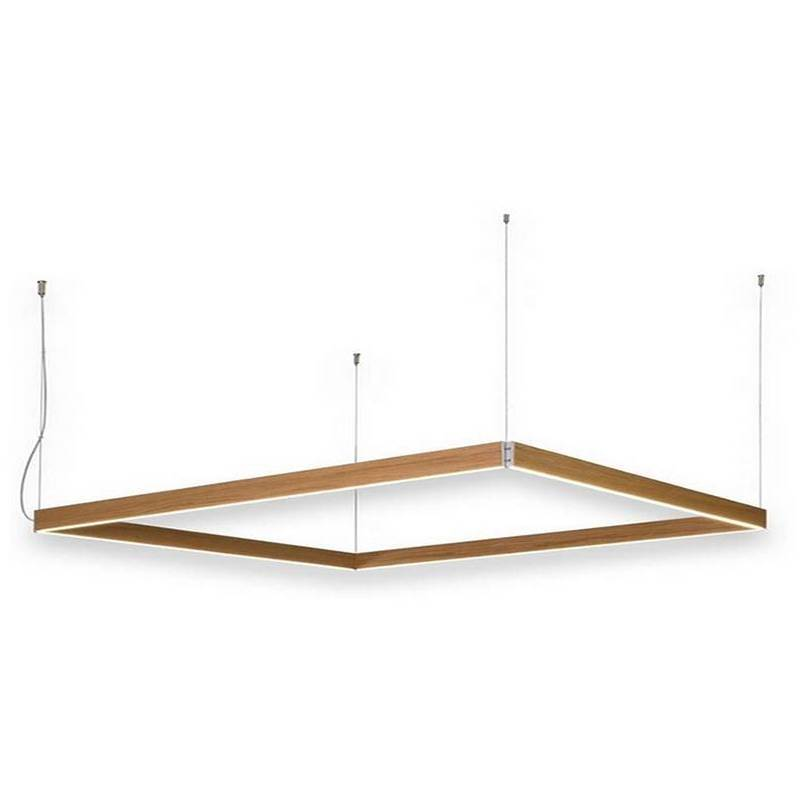 L mpara colgante manolo led rectangular madera ole for Lamparas colgantes led