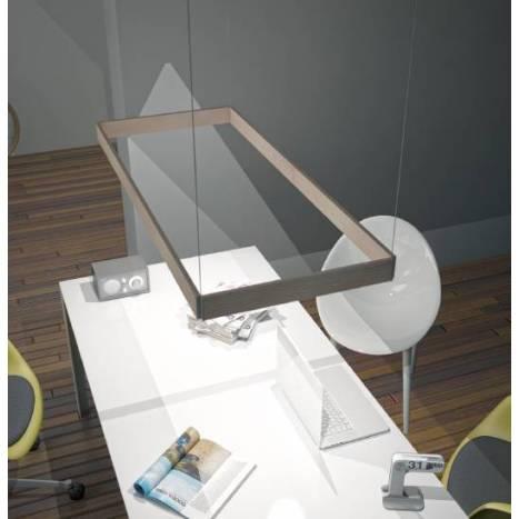Lampara colgante Manolo LED rectangular madera de Ole