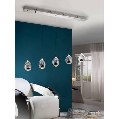 SCHULLER Rocio linear pendant lamp 5 lights LED chrome