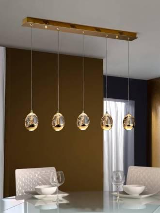 Lampara colgante Rocio lineal 5L LED oro de Schuller