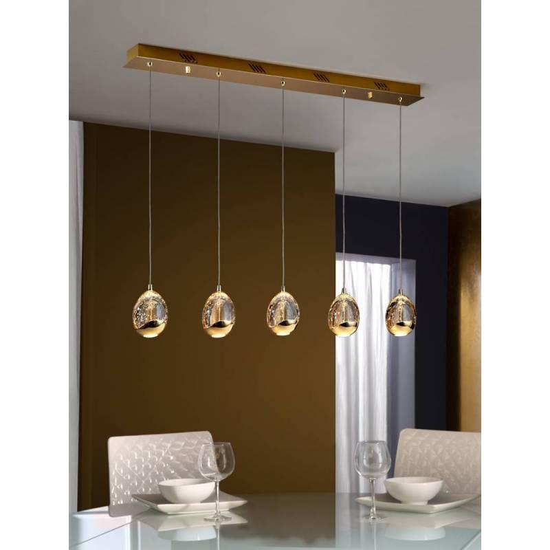 SCHULLER Rocio linear pendant lamp 5 lights LED gold