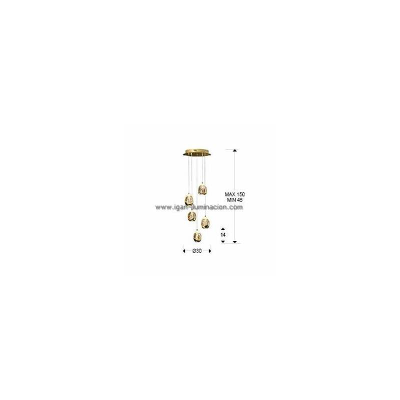 Schuller Rocio Pendant Lamp 5 Lights LED Gold