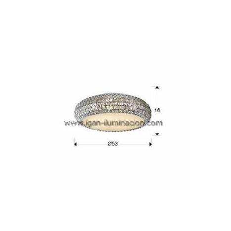 Plafon de techo Diamond 53cm cristal facetado Schuller