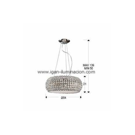 SCHULLER Diamond large pendant lamp 9 lights chrome