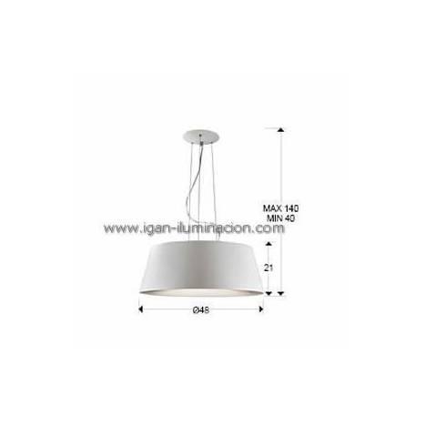 Lampara colgante Zone 50cm en aluminio blanco Schuller