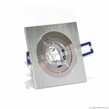 Foco empotrable LED 6w cuadrado aluminio basculante